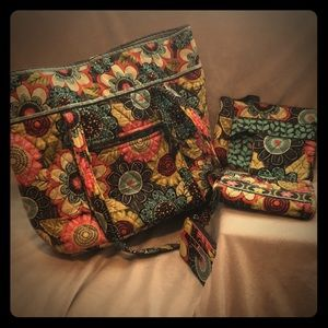Vera Bradley Tote & Cosmetic Bags in Flower Shower